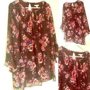 Long-Sleeve Sheer Floral Tunic